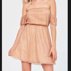 UO Off the Shoulder Ruffle Shimmer Dress